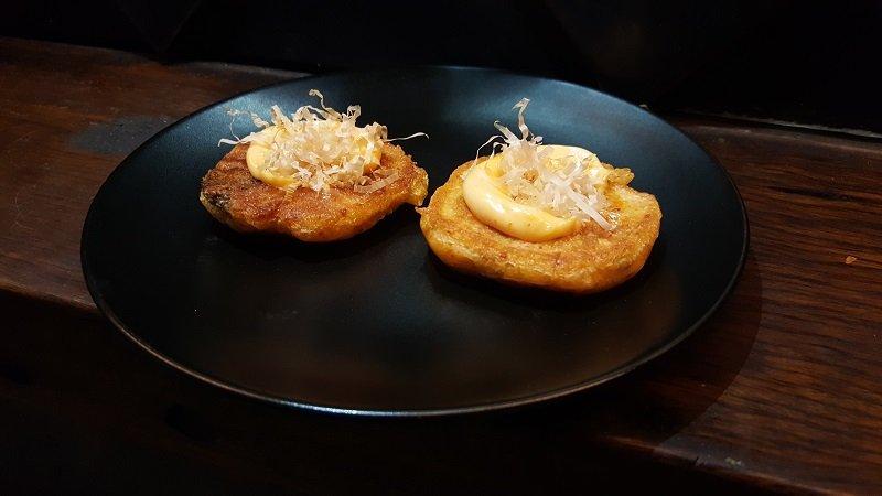 Kimchi and angasi pancake with kewpie mayo and sriracha - Akiba, Canberra, Australia