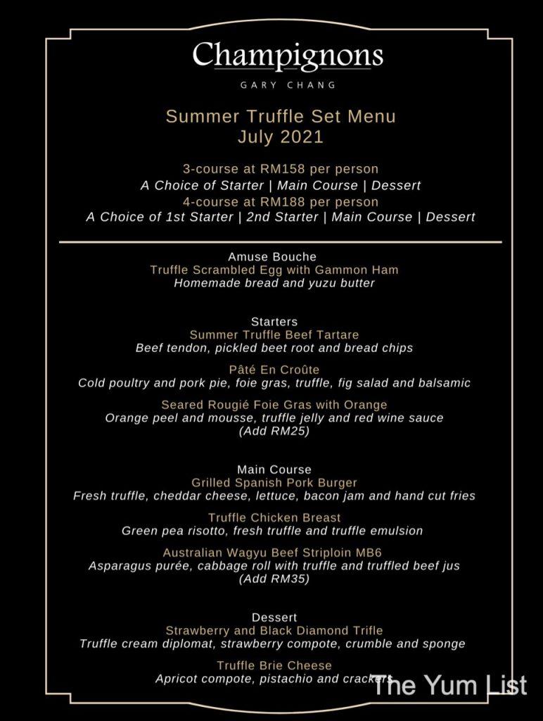 Summer Truffle Menu - Champignons at Oasis by Gary Chang