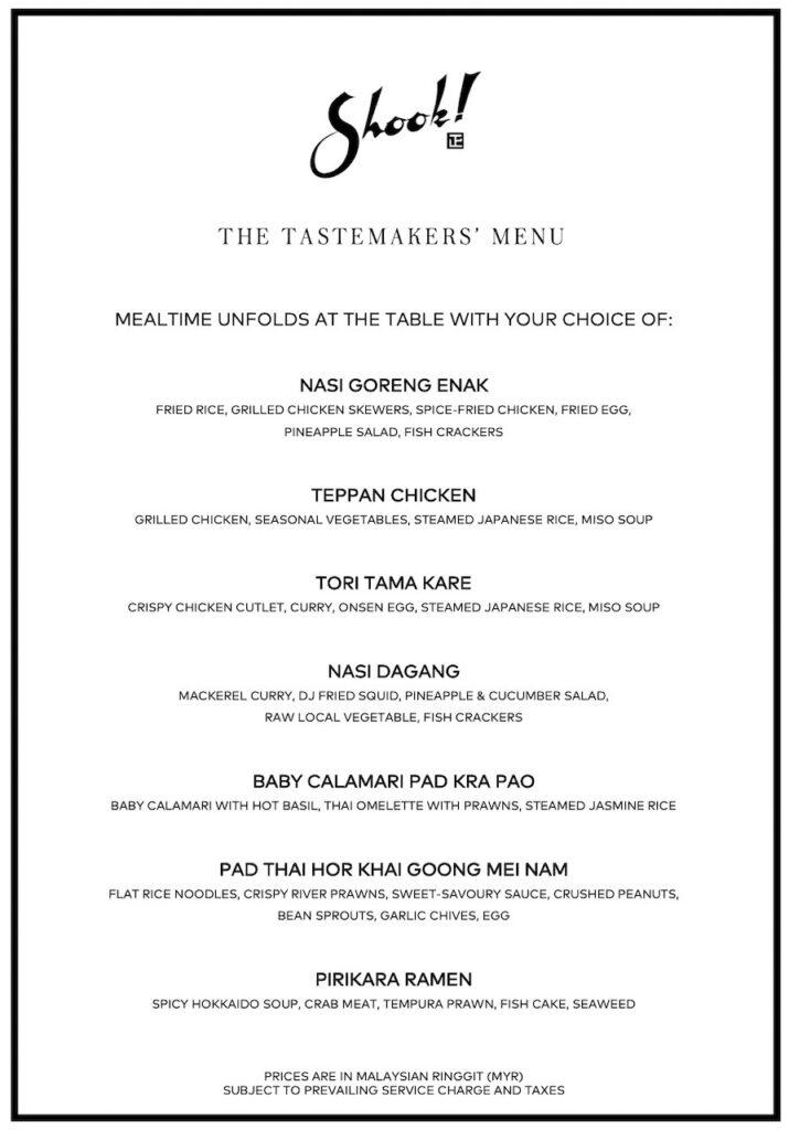The Tastemakers' Menu Shook! The Starhill Dining